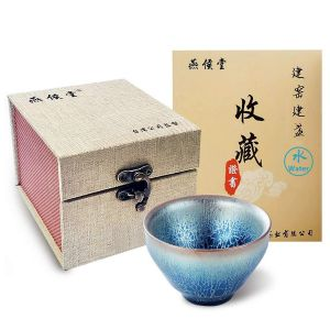 Water JianZhan Royal Sole Tea Cup Bowl Dragon Scales Pattern Bowl Tenmoku Tianmu Bless Health Indigo Blue